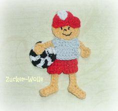 Applikation Junge mit Fußball von Zucker-Wolle auf DaWanda.com