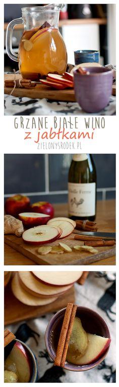białe grzane wino na chłodniejsze dni. z dodatkiem jabłek, rodzynek i cynamonu