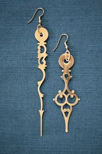 Earrings made from clock hands.
