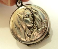 Your place to buy and sell all things handmade Antique Locket, Silver Lockets, Virgin Mary, Art Nouveau, Silver Plate, Vintage Jewelry, Victorian, Antiques, Pretty