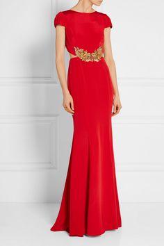 Marchesa Notte | Embellished stretch-silk gown | NET-A-PORTER.COM