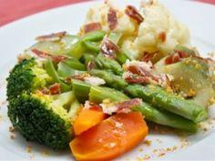 Receta Plato : Menestra de verduras con jamón y ajo por Conmuchagula