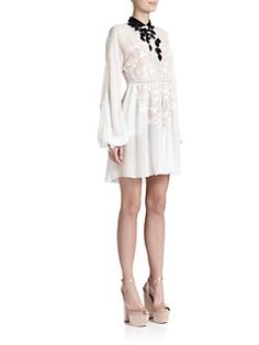 points for this Italian line. Stunning. GIAMBA - Embroidered Silk Dress