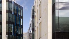 Exchange Place in Edinburgh. Contemporary facades of the two major buildings with Pilkington Suncool Optilam™ 70/40 in both facades and laminated glass with blue PVB interlayer in some particular parts of the elevation. In spandrel areas black enamelled glass was applied.