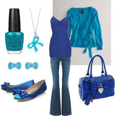 Teal and blue, created by lneumann1986 on Polyvore  Wish I had a teal blue cardigan, but without all the fluffy stuff