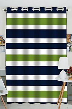 Custom Navy Blue,Green And White Stripe Window Curtain Ki...