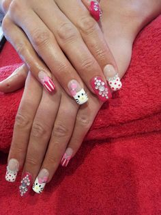 Acrylic Nails. Mixed White and Pink tips. French Manicure. Gel Overlay.  Free Hand Nail Art. Hello Kitty Design. Diamantes. Pink Bows.