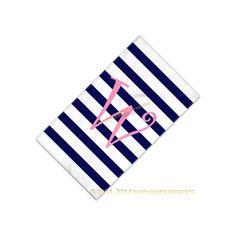 Monogram Beach Towel Preppy Cabana Print by PartyPaperPresents