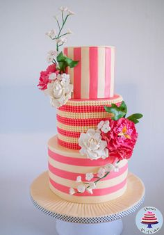Ivory and Rose Pink Wedding - Cake by Veenas Art of Cakes