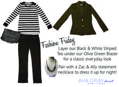 Layering our olive blazer over our black and white stripped tee is the perfect color combo -- classic but edgy Olive Green Blazer, Striped Tee, Everyday Look, Color Combos, Style Guides, Ava, Layering, What To Wear, Ootd