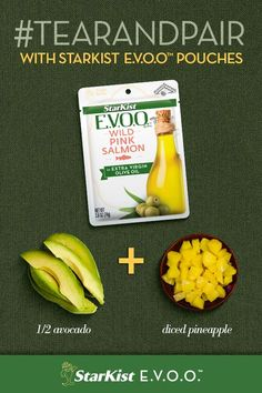 Try this summer-inspired #TearAndPair for a simple way to elevate your next meal or snack. Combine diced pineapple and avocado with StarKist E.V.O.O. Wild Pink Salmon to help fuel your afternoon. Date Recipes, Low Carb Recipes, Healthy Recipes, Healthy Foods, Avocado, Fish And Seafood, Salmon Recipes, Health And Nutrition, Dairy Free