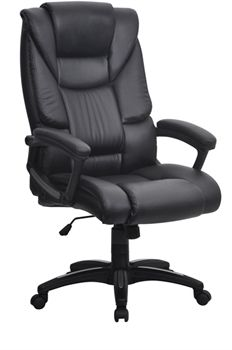 The Washington Oversized High Back Executive Leather Effect Operator Chair In Black Features A Heavy Duty Gas Seat Height Adjustment And Fully