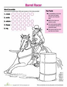 Worksheets: Horse Fun: Barrel Racer