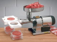 "Uses the power from your grinder to press meat into 1⁄3-lb. patties.  Pull the slider and patty is released. Fits Cabela's commercial and  manual grinders, Cabela's Vertical Stuffers, and most other grinders  with neck sizes of 8, 12, 22 and 32.  Dimensions:  6""H x 13""W X 10""D."