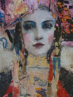 """Saatchi Art is pleased to offer the painting, """"Miss Spring,"""" by Julia Klimova. Original Painting: Oil on Canvas. Abstract Portrait, Portrait Art, Portraits, Portrait Paintings, Art Paintings, Art Visage, Painting People, Spring Art, Face Art"""