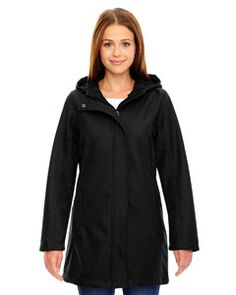 The Ash City - North End Ladies' City Textured Three-Layer Fleece Bonded Soft Shell Jacket is available in Sizes XS-3XL. It can be purchased in your choice of the following color: Black.