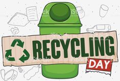 Recycle Bin with Recycled Cardboard for Recycling Day Celebration Recycling Bins, Doodle Drawings, Free Vector Art, Image Now, Geo, Celebration, Banner, Doodles, Illustration