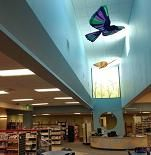 Three colorful birds we created for a suspended installation at the Mesa County Library in Grand Junction, Colorado.