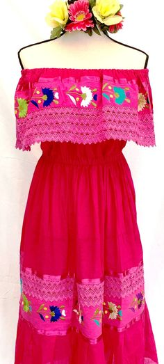 a5b48c6292554 Embroidered Double Crocheted Fuchsia Off Shoulders Mexican DRESS Peasant  Vintage Fits up XL Women s 100%