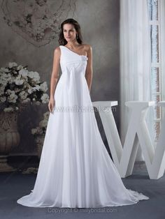 Empire One Shoulder Chiffon Chapel Train Appliques Wedding Dresses#00017894