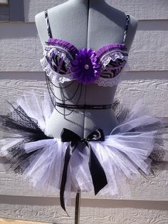 Purple Black and White Rave Bra / Costume Bra w/ by KKHCreations, $65.00