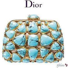 Dior v turquoise clutch handbag