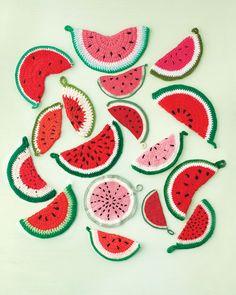 crochet watermelon potholders