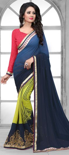 Buy Now : Rs. 1,500 /- http://www.indianweddingsaree.com/product/181440.html Blue, Green color family Party Wear #Sarees, Printed #Saree with matching unstitched blouse. #Sari