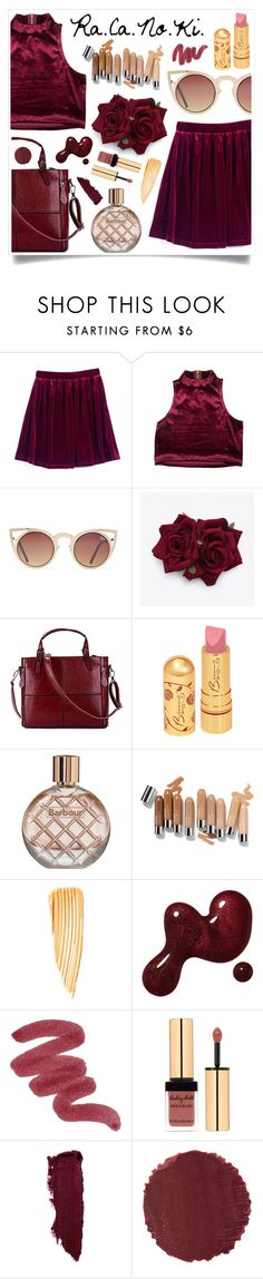 """""""Red Velvet"""" by racanoki ❤ liked on Polyvore featuring Retrò, Quay, Barbour, Tom Ford, Lipstick Queen, Burberry, women's clothing, women, female and woman"""