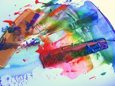 rainbow painting using a comb
