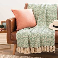 GUADALAJARA patterned green cotton throw 125 x 150 cm | Maisons du Monde