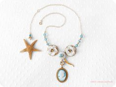 Gold filled  Sea Holly cameo charm necklace by crimsonandfinch, €29.50