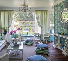 turquoise living room Kim E Courtney Interiors