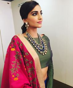 Pink dupatta embroidery