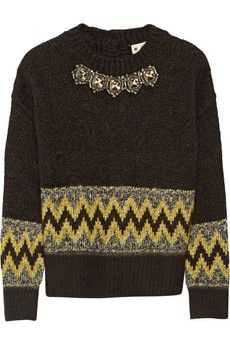 Marni Embellished jacquard-knit wool-blend  sweater | NET-A-PORTER