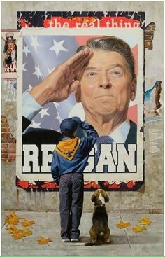 A real President, Ronald Reagan being saluted by a young boy in a charming illustration of what it was like to have President Reagan in office for 8 glorious years. Remember this when you vote Nov. Greatest Presidents, American Presidents, Us Presidents, 40th President, President Ronald Reagan, I Love America, God Bless America, Norman Rockwell, American Pride