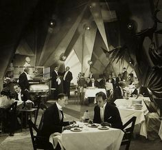The expressionist restaurant set from Fritz Lang's Dr. Mabuse (1921-22)
