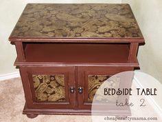 Bedside Table Mod Podge Makeover| CheapCraftyMama.com