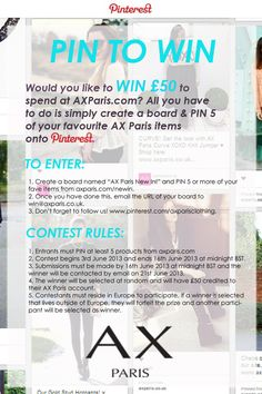 PIN TO WIN COMP from @AX Paris pinterest competitions uk