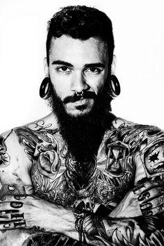 Tattoos pictures - picture ideas mens piercings, tattoos for guys, lif Septum Piercing Men, Mens Piercings, Body Piercings, Inked Men, Inked Girls, Tattoos For Women Small, Tattoos For Guys, Beard Tattoo, Raining Men