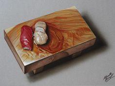 Marcello Barenghi: Nigiri sushi on a wooden platter - drawing #marcellobarenghi #sushi #drawing