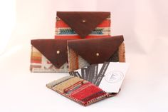 The Cayla - Horween Leather and Pendleton® wool fabric Card Hold Wallet by FromMarfaWithLove on Etsy