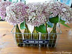 Wire Basket, Wine Bottle & Hydrangea Centerpiece!