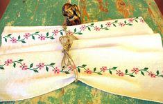 490. European flax linen towel, vintage organic linen towel, handloomed pure flax linen towel, homespun hand embroidered towel (unused) Handmade Table, Handmade Gifts, Embroidered Apron, Hungarian Embroidery, Linen Towels, Fabric Panels, Vintage Crochet, Hand Crochet, Organic