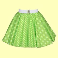 Childs Lime Green with White Polkadot Full Circle Skirt