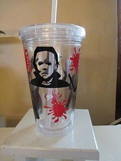 Slasher Freddy Jason Michael Leatherface Tumbler Cup Gift Halloween Home Decor Kitchen Bar Gift for Her Him Any Color Personalized Custom Halloween Home Decor, Halloween House, Halloween Ideas, Macabre Decor, Bar Gifts, Silhouette Cameo Projects, Cup Design, Tumbler Cups, Home Decor Kitchen