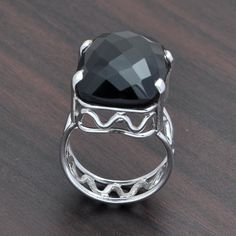 925 SOLID STERLING SILVER BLACK ONYX CHAKER CUT RING 8.09g DJR3654 #Handmade #Ring