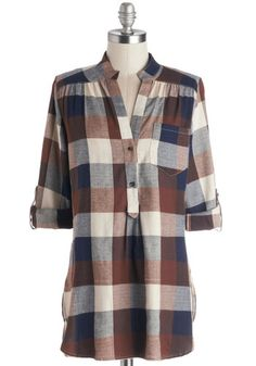 Bonfire Stories Tunic in Brown Plaid - Long, Cotton, Woven, Brown, Blue, Tan / Cream, Checkered / Gingham, Buttons, Pockets, Casual, Menswea...