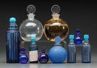 Ten Assorted R. Lalique Glass Perfume Bottles for Worth Dans La Nuit, Je Reviens Circa 1924-1929. Mo