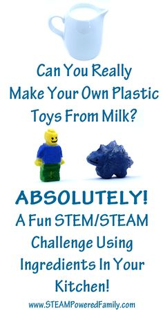 Make plastic from milk? It's called casein plastic and it's easier than you think. Create your own toys, beads, jewelry, and more, with ingredients you have right now in your kitchen. It's so easy and super cool! Science Activities For Kids, Stem Science, Preschool Science, Science Fair, Science Lessons, Teaching Science, Stem Activities, Teaching Ideas, Chemistry Projects